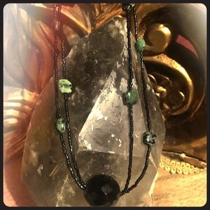 Ruby in zoisite and black glass necklace